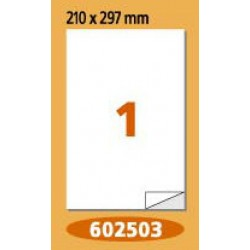Labels Laminex, A4, white, 210 x 297 mm, right angles