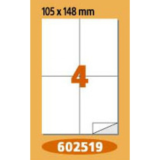 Labels  Laminex, A4, white, 105 x 148 mm, right angles