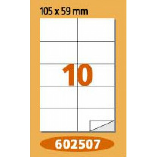Labels  Laminex, A4, white, 105 x 57 mm, right angles