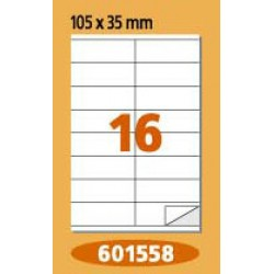 Labels  Laminex, A4, white, 105 x 35 mm, right angles